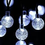 Globe all'aperto natalizia, Fuori 30 sfera di cristallo stringa solare luci a LED, impermeabile di giardino, Natale, Albero, Casa, Patio, Giardino, Decorazione della festa, 6.4m, 8 modalità (Bianco)