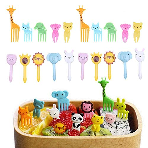 fellibay Lebensmittel Obst Gabel Kuchen gabeln Dessertgabeln Kind Tiere Mini Cartoon Zahnstocher Bento Lunch für Sandwich, Aperitif, Cocktail Party Picks Supplies 18 oder 20 PCS Universal A Type-20pcs