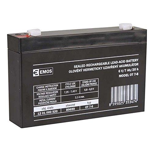 EMOS B9659 Wartungsfreier Bleiakkumulator 6V, 7 Ah, 6 V (6 Cycle Batterie-deep Volt)