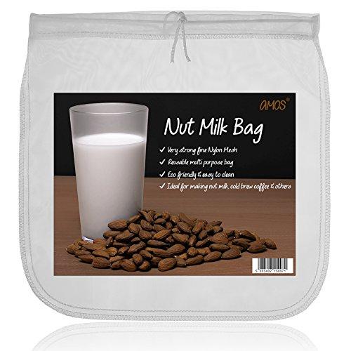 AMOS Sacchetto per Latte Vegetale Fatte in Casa di Noci Mandorla Cocco Soia Canapa Avena Riso Filtro Ecologico Riutilizzabile Colino da Maglia Fine di Nylon - Mussola Fine