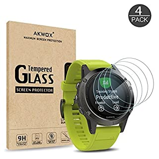 (Pack of 4) Tempered Glass Screen Protector for Garmin Fenix 5, Akwox [0.3mm 2.5D High Definition 9H] Premium Clear Screen Protective Film for Garmin Fenix 5