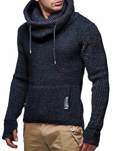 LEIF NELSON Herren Pullover Hoodie Strickpullover Longsleeve Sweater Sweatshirt LN5060 Schwarz