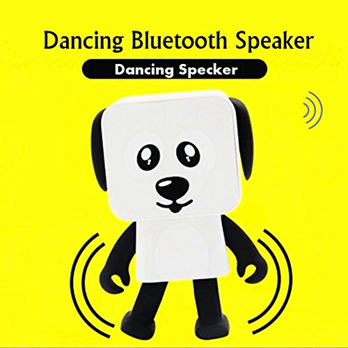 MAJGLGE Creative Mini Cute Dancing Dog Robot Wireless Bluetooth Speaker USB Music Player - Black+White - Manual Air-relief