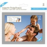 "Shot2go magnetic photo fridge frame pockets silver border 5x7"" 2 pack"