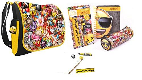 Emoji Die Cut Note, Pencil Case and Stationary Set and Emoji Messanger Shoulder Bag