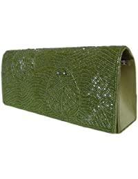 Damen Unterarmtasche Abendtasche Schultertasche Hochzeitstasche mit Perlenappl.Grün,24x10 cm Apfelgrün