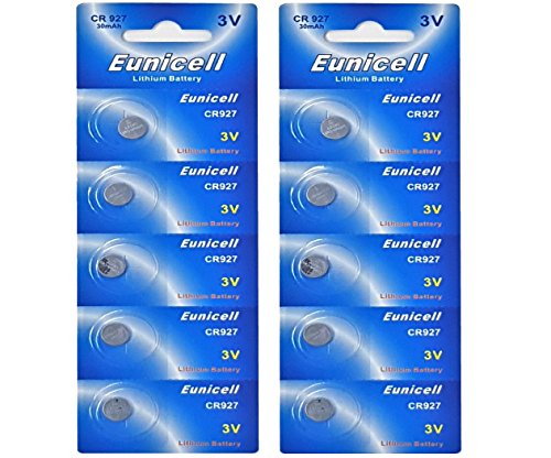10 x CR927 3V Lithium Knopfzelle 30 mAh ( 2 Blistercards a 5 Batterien ) Markenware Eunicell