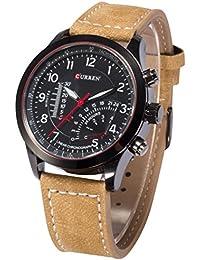 AMPM24CUR093–Reloj de pulsera de hombre, correa de piel color marrón
