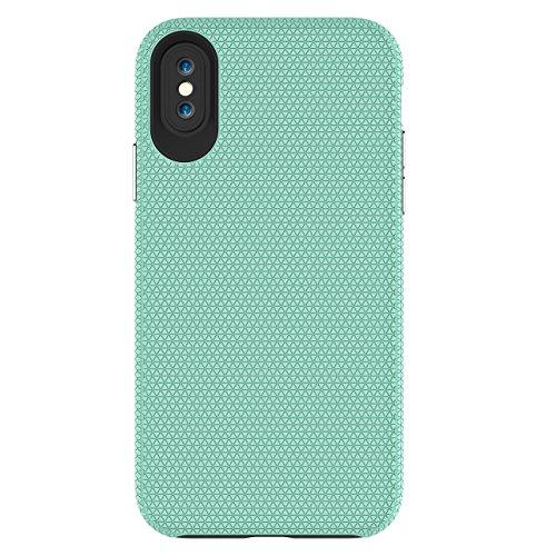 iPhone X Coque, Voguecase TPU + PC 2-EN-1 Antidérapant avec Absorption de Choc, Etui Silicone Souple, Légère / Ajustement Parfait Coque Shell Housse Cover pour Apple iPhone X (Noir)+ Gratuit stylet l' Vert clair