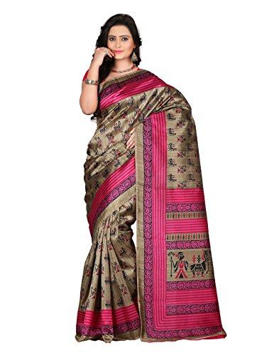 e-VASTRAM Women\'s Art Mysore Printed Silk(NS10C_Pink)