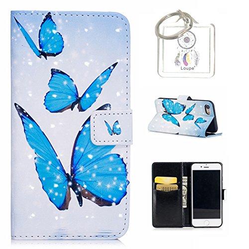 für iPhone 8 / 7 (4,7 Zoll) Hülle, Retro 3D Muster PU Leder Hülle Wallet Case Folio Schutzhülle in mit Standfunktion Karteneinschub und Etui Flip Case Schutzhüllen +Schlüsselanhänger (P) (9)