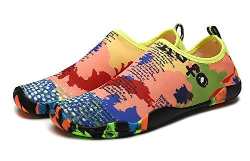 ECO-TISH Unisex Wasserschuhe Badeschuhe Aquaschuhe Wasserdicht Schnell Trocknend Slip On Breathable Strandschuhe Schwimmschuhe Damen Neoprenschuhe Barfuß Schuhe für Herren Mehrfarbig
