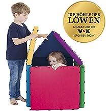 Tukluk 07596 Kinder Puzzlematte Bauset | Spielmatte Kinderteppich Krabbelmatte | Fantasievolles Bauen Mit Eingenähten Magneten | Polsterelemente Geometrische Grundformen | Multicolour