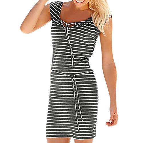 Bluestercool Vestiti Donna Corti Estivi Striped Abiti Casual (grigio,large)