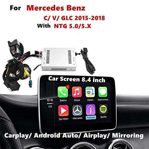 Carplay Android Auto NAV Receiver Compatible for Mercedes C V GLC Original Factory Screen 8.4 Inch, NTG 5.0/5.X 2015-2018 (AirPlay, Goolge, Mirrorlink) Auto Nav Kit