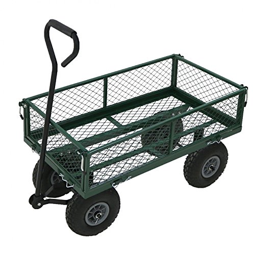 Oypla Heavy Duty métal Jardinage Chariot - Remorque Vert Panier
