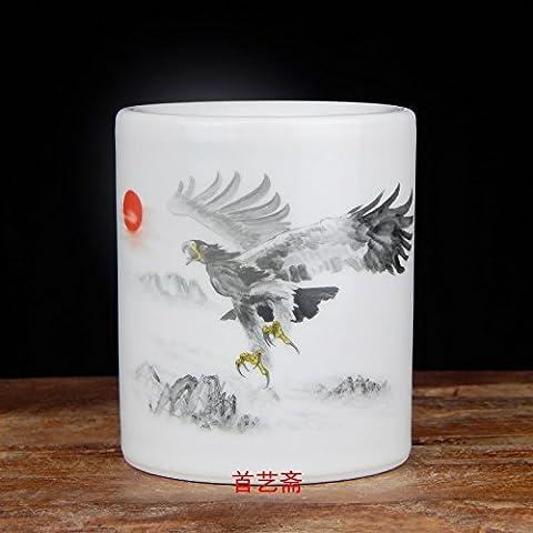 portamatite ufficio della cancelleria deposito Box penna matita Pot titolare del bene Jingdezhen porcellana dipinto a mano ornamenti con matita vaso tabledecoration, un futuro luminoso