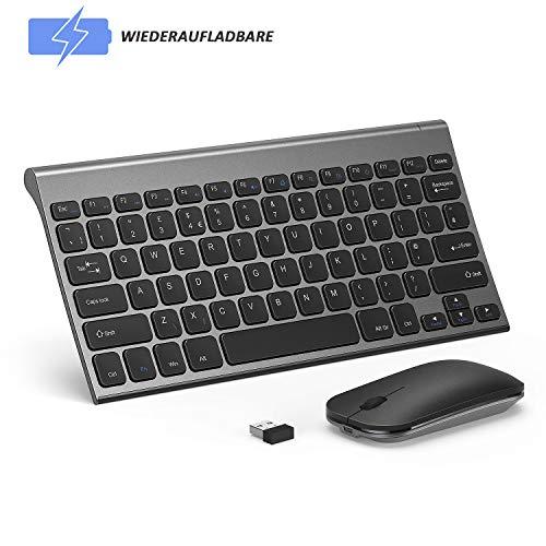 seenda Tastatur Maus Set Kabellos, Klein Slim Wiederaufladbar Wireless Tastatur und Maus mit Lange Akkulaufzeit für Windows(QWERTZ Deutsches Layout)-Space Grau
