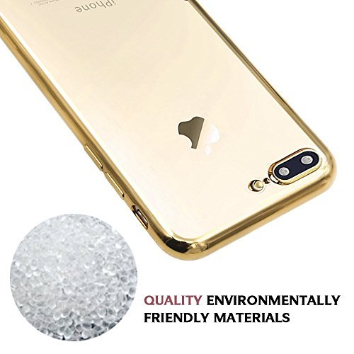 iPhone 7 Coque, Orlegol Housse Silicone Etui Case Cover Transparent Crystal Clair Soft Gel TPU, Coque Housse Etui anti chocs Back Cover Bumper Case Anti Scratch Shock Absorption for iPhone 7 - Noir de Gold