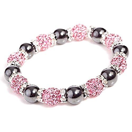 Bling Rocks' Starlet Mayfair ' Pink tschechisches Kristall und Hämatit Elastikband Bracele. Größe ()