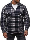 Herren Fleece Jacke Holzfäller Hemd Thermo Flanell Sweat Shirt H2070,Grau,XXL