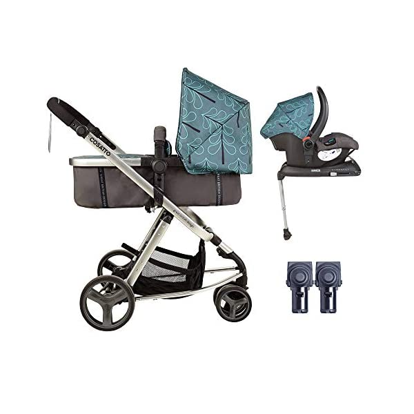 Cosatto Giggle Mix pram and Pushchair in Fjord with car seat Base & raincover Cosatto Includes: Chassis,Seat unit, Hold Car seat,Isofix base,Car seat adaptors,Raincover, Apron and 4 Year guarantee(UK and Ireland only) Suitable from birth up to 15kg. One unit transforms from newborn pram mode into pushchair mode. Space saving. No need to buy separate carrycot.. Colour packs available so you can change the look to suit your mood, family and adventures. Includes hood, pram apron and padded pushchair apron. 1