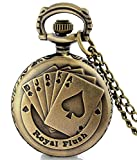 #9: LMP3Creation Classic Vintage Retro Antique Bronze Finish Royal Flush Pocket Watch For Men Women - Chain Necklace Watch (POW-0197)