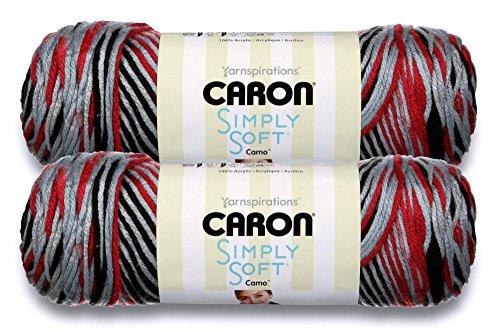 Caron Einfach Weich Bulk kaufen Camo, Ombres, Farben und Streifen (2er Pack) ~ 100% Acryl Garn ~ 5oz Garnknäuel 2-Pack Red Camo #20008 - Kobalt-blauer Streifen