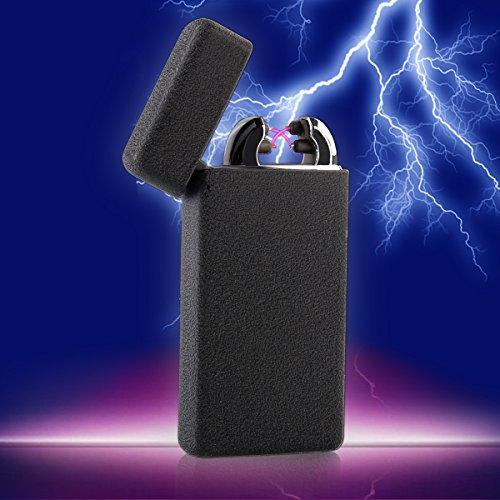Double Arc USB Feuerzeug - [Anti-Slip] [winddicht] Frosted Tasche Ultra dünne Matt Elektronisches Lichtbogen Lighter, Elektro Feuerzeug , Zigarette Feuerzeug (Schwarz) -