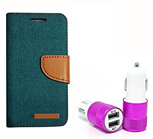 Aart Fancy Wallet Dairy Jeans Flip Case Cover for Asuszen-5 (Green) + Dual USB Port Car Charger with Smartest & Fastest Technology by Aart Store.