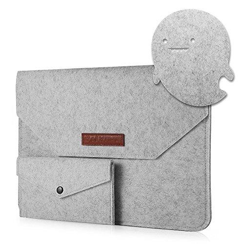 CMXING 13-13,3 pouces portable manchon étui sacoche portable sacoche mallette sacoche avec souris poche/Power Pouch pour 12,9 iPad pro/MacBook Air/MacBook Pro/Pro Retina/ordinateur portable/table (13 pouces, Gris)