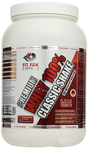 Fit Fox Express Premium Whey 100% Protein (Eiweißshake, Molkenprotein mit Dosierlöffel) Classic Joghurt-Raspberry Cream, 1er Pack (1 x 1 kg), 1000 g Dose