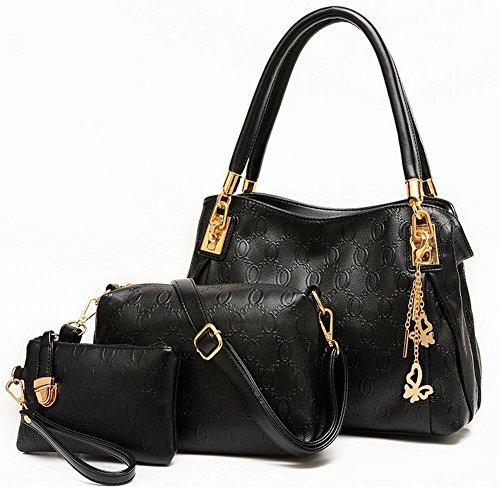 Geprägte Handtaschen Schultertasche Umhängetasche Mode Kaufen Eins Bekommen Drei Frauen Taschen , schwarz (Handtasche Geprägte Mode)
