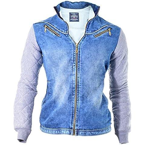 D&R Fashion Uomo giacca di jeans Jeans Slim Fit Fleece Maniche Blu Grigio Composizione