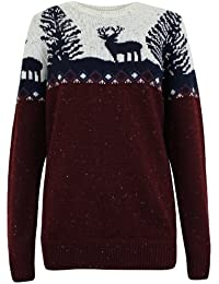 Oromiss Mens Xmas Knitted Vintage Jumper Beautiful Reindeer Forest Traditional Fair Isle Pattern
