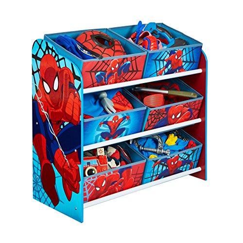 hellohome-spider-man-cameretta-toy-cassettiera-con-6-bidoni-legno-multicolore