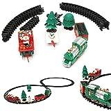 KING DO WAY Treno Giocattolo Elettrico Luminoso Musicale, Modello di Treno di Natale, Treno+Santa+Albero+Slitta Regalo per Festa/Compleanno immagine