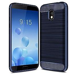 iBetter LG V40 Funda,LG V40 Funda de Silicona para teléfono Inteligente LG V40 con Fibra de Carbono Suave. Azul