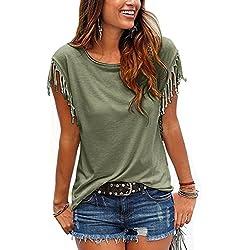 Las Mujeres Verano Casual Cuello Redondo Manga Corta con Flecos Sueltos T Shirt Top tee, Plus Size Green S