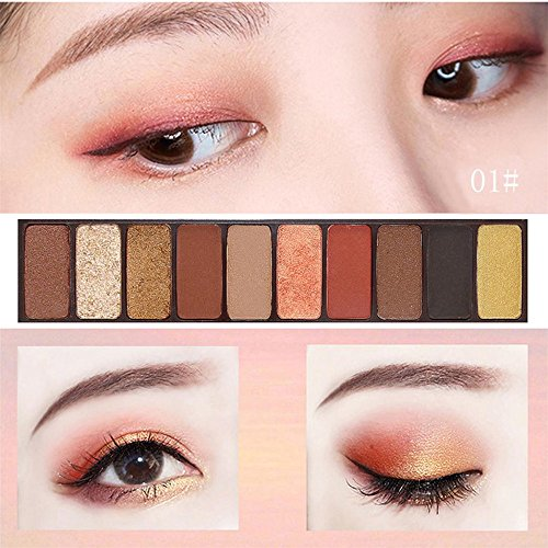 Dauerhafte Augenfarbe (Lidschatten Set, KIMODO Neu Kosmetik Make-up Schimmer Matt Naked 10 Farben Lidschatten Palette Sombras)