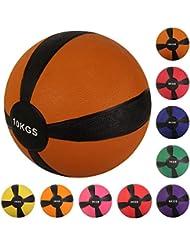 Balón medicinal deportivo 1 kg, 2 kg, 3 kg, 4 kg, 5 kg, 6 kg, 7 kg, 8 kg, 9 kg, 10 kg - Concebido para la práctica del cross training, el calentamiento de los deportistas, el refuerzo muscular o la rehabilitación (10 kg Marrón)