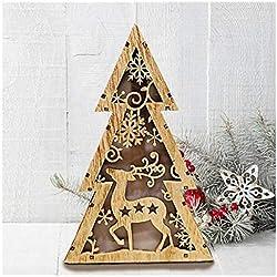 Weihnachtsbaum Holz Mini künstliche weihnachtsbäume mit LED-Licht Beleuchten Aus Holz Desktop Dekoration Weihnachtsbaum Weihnachtsdeko Weihnachtsbaumschmuck DIY Geschenk