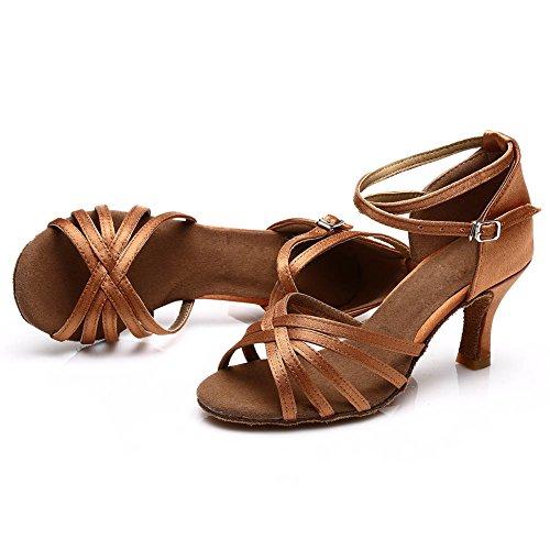 SWDZM Damen Ausgestelltes Tanzschuhe/Standard Latin Dance Schuhe Satin Ballsaal ModellD213-7 Braun