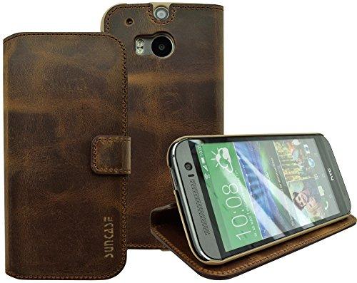 HTC One M8 / M8s - Suncase Book-Style (Slim-Fit) Ledertasche Leder Tasche Handytasche Schutzhülle Case Hülle (mit Standfunktion & Kartenfach) antik-coffee