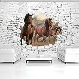 FORWALL Fototapete Tapete 3D Pferde und Ziegelwand P4 (254cm. x 184cm.) AMF10606P4