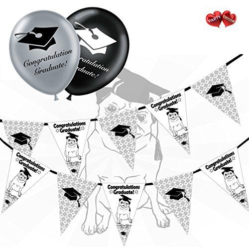 Gratulation Graduate Bundle Of Mops und hat Wimpelkette Banner 15Flaggen und 10Silber und Schwarz 27,9cm Latex Luftballons Perfekte für die Graduierung Celebration Party von Party Decor