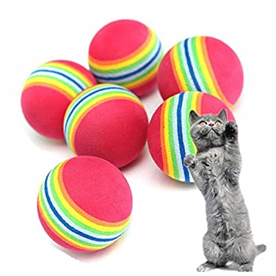 GOOTRADES Pet Cat Soft Foam Rainbow Play Balls Activity Toys (pack of 10)