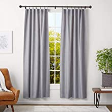 AmazonBasics 2.5 cm Curtain Rod with Urn Finials, 91 to 183 cm + 35.6 cm Curtain Rod Rings, Espresso (Dark Bronze)