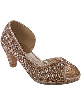 Unze Peep Toe Zapatos de tacón embellecido niñas Rystah '