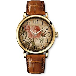 iCreat Ladies Women Brown Strap Casual Watch brown Retro rose butterfly